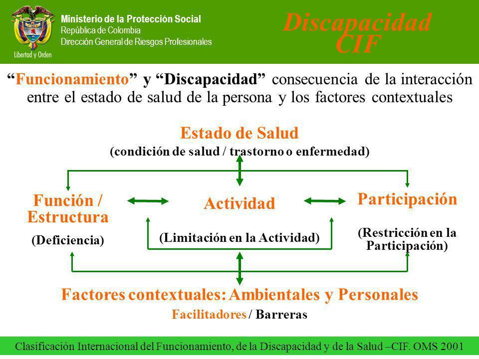 Ministerio de la Protección Social República de Colombia Dirección General de Riesgos Profesionales Funcionamiento y Discapacidad consecuencia de la interacción entre el estado de salud de la persona y los factores contextuales Discapacidad CIF Clasificación Internacional del Funcionamiento, de la Discapacidad y de la Salud –CIF.