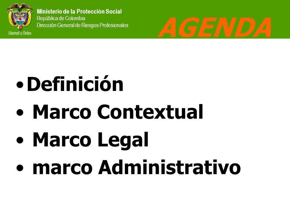 Ministerio de la Protección Social República de Colombia Dirección General de Riesgos Profesionales AGENDA Definición Marco Contextual Marco Legal marco Administrativo