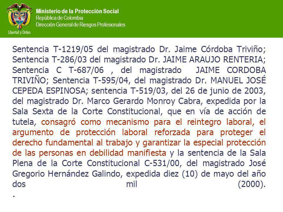 Ministerio de la Protección Social República de Colombia Dirección General de Riesgos Profesionales Sentencia T-1219/05 del magistrado Dr.