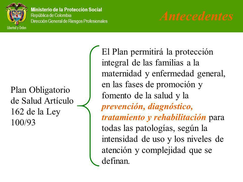 Ministerio de la Protección Social República de Colombia Dirección General de Riesgos Profesionales Plan Obligatorio de Salud Artículo 162 de la Ley 1