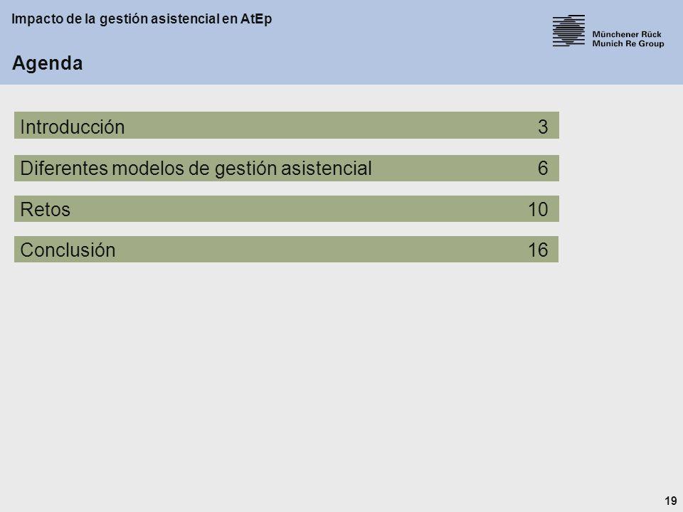 19 Impacto de la gestión asistencial en AtEp Agenda Introducción3 Diferentes modelos de gestión asistencial6 Retos10 Conclusión16