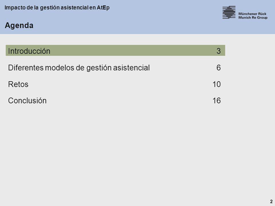 2 Impacto de la gestión asistencial en AtEp Agenda Introducción3 Diferentes modelos de gestión asistencial6 Retos10 Conclusión16