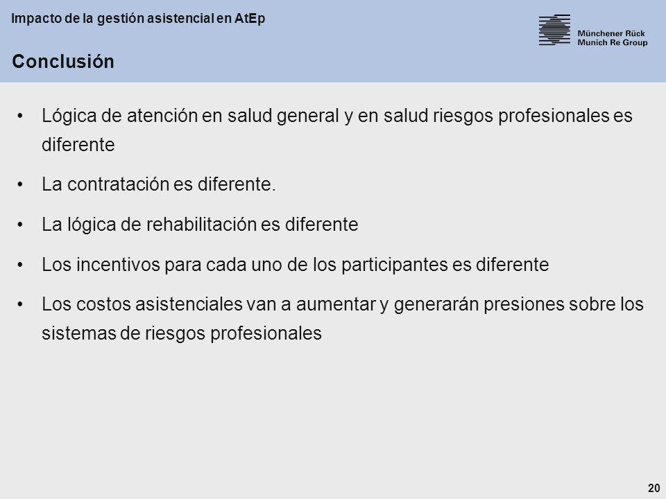 20 Impacto de la gestión asistencial en AtEp Conclusión Lógica de atención en salud general y en salud riesgos profesionales es diferente La contratación es diferente.