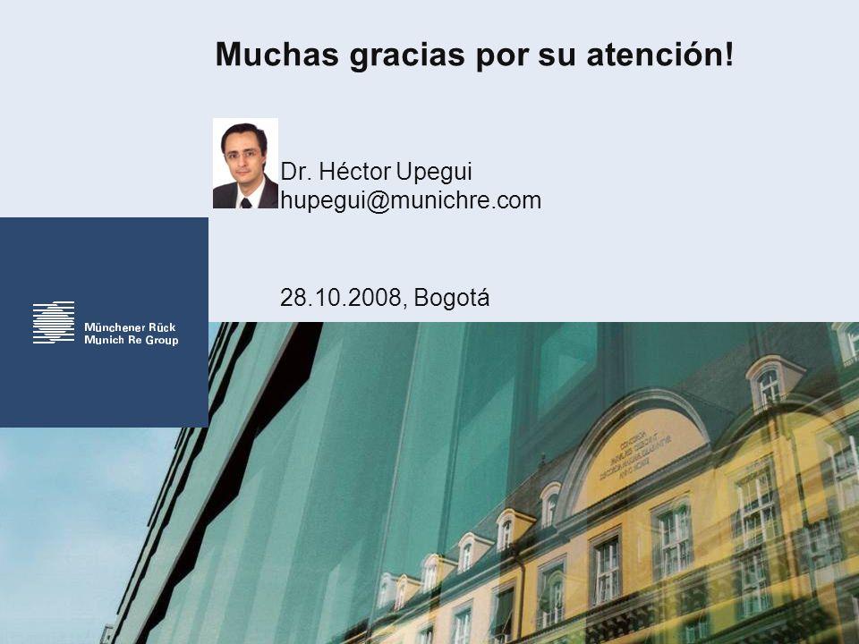 Muchas gracias por su atención! Dr. Héctor Upegui hupegui@munichre.com 28.10.2008, Bogotá