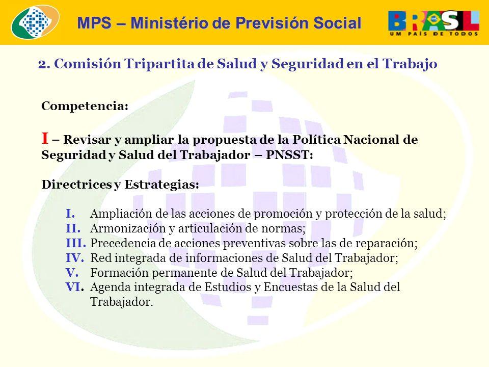 MPS – Ministério de Previsión Social Competencia: I – Revisar y ampliar la propuesta de la Política Nacional de Seguridad y Salud del Trabajador – PNS