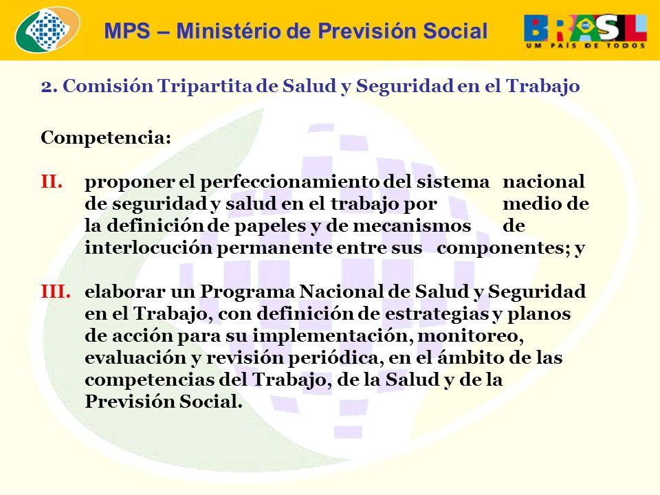 MPS – Ministério de Previsión Social Competencia: II.proponer el perfeccionamiento del sistema nacional de seguridad y salud en el trabajo por medio d