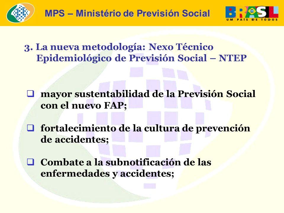 MPS – Ministério de Previsión Social mayor sustentabilidad de la Previsión Social con el nuevo FAP; fortalecimiento de la cultura de prevención de accidentes; Combate a la subnotificación de las enfermedades y accidentes; 3.