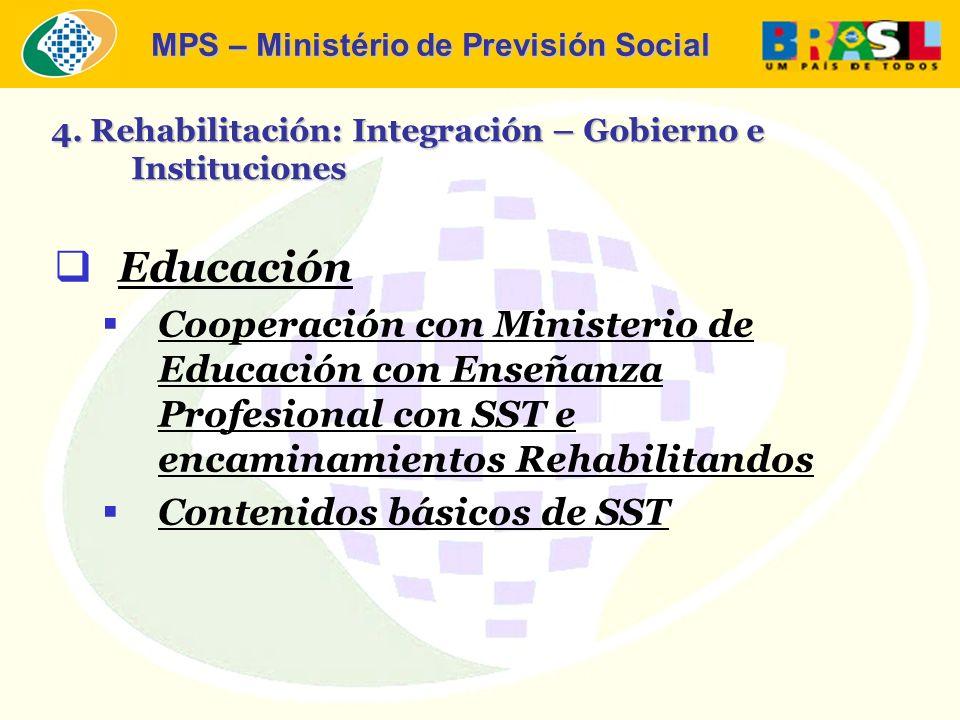 MPS – Ministério de Previsión Social Educación Cooperación con Ministerio de Educación con Enseñanza Profesional con SST e encaminamientos Rehabilitandos Contenidos básicos de SST 4.