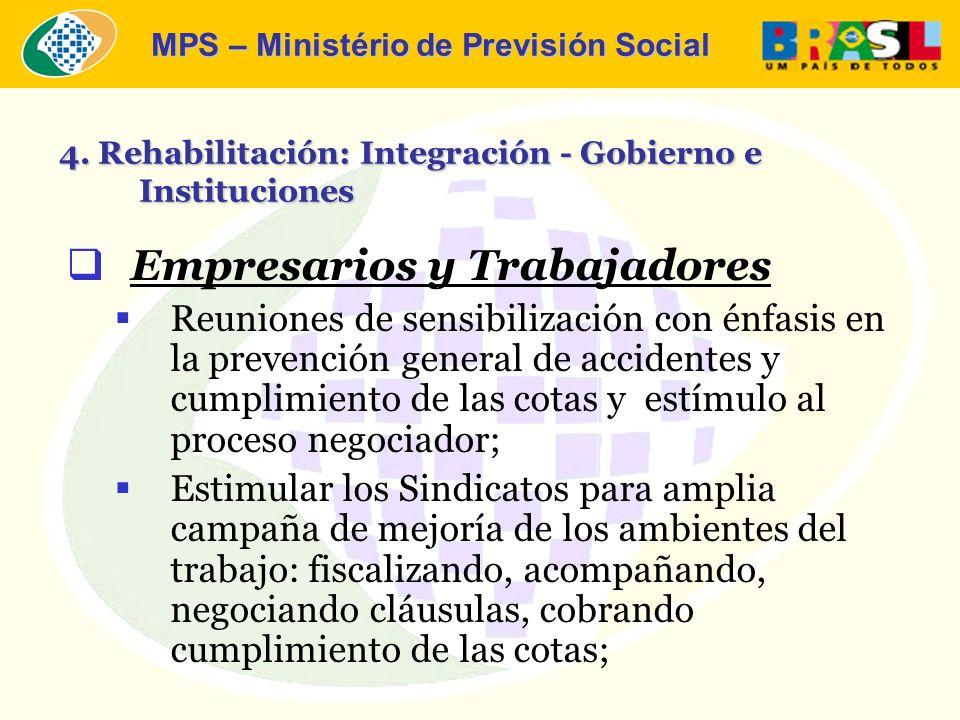 MPS – Ministério de Previsión Social Empresarios y Trabajadores Reuniones de sensibilización con énfasis en la prevención general de accidentes y cump
