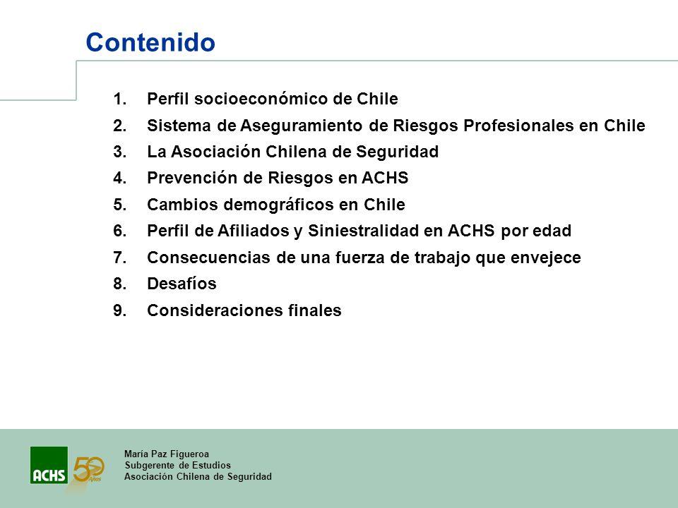 María Paz Figueroa Subgerente de Estudios Asociación Chilena de Seguridad Contenido 1.Perfil socioeconómico de Chile 2.Sistema de Aseguramiento de Rie