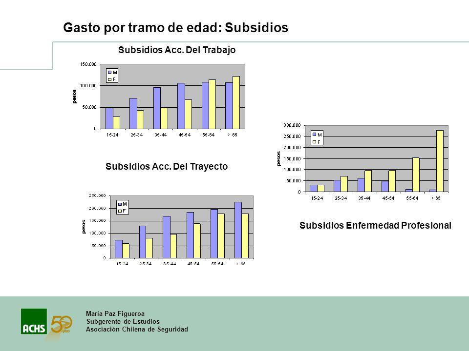 María Paz Figueroa Subgerente de Estudios Asociación Chilena de Seguridad Gasto por tramo de edad: Subsidios Subsidios Acc. Del Trabajo Subsidios Acc.