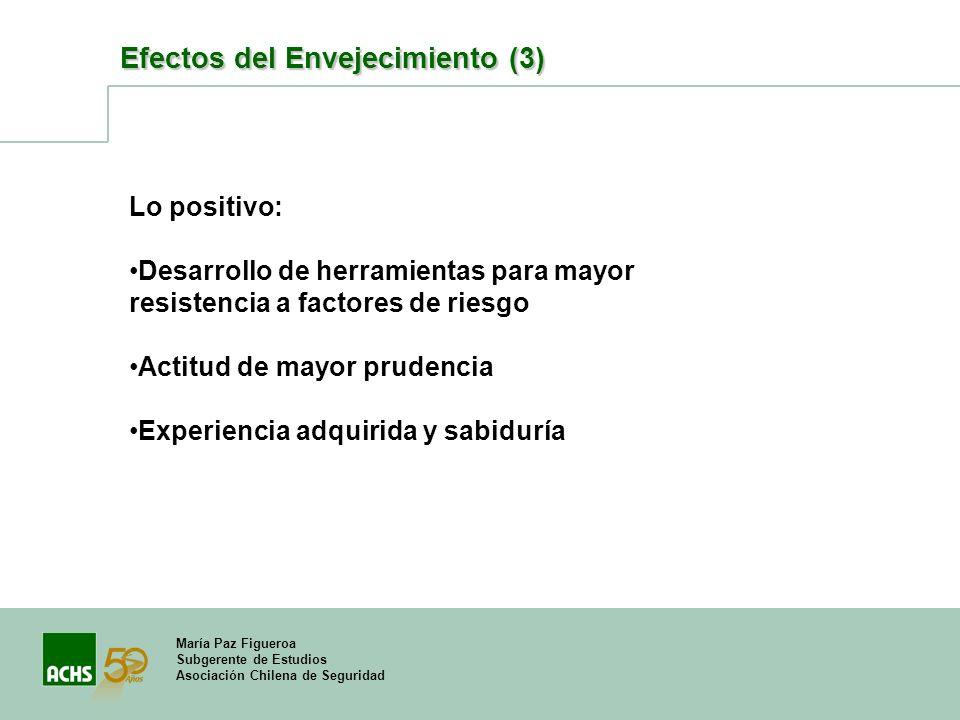 María Paz Figueroa Subgerente de Estudios Asociación Chilena de Seguridad Efectos del Envejecimiento (3) Lo positivo: Desarrollo de herramientas para