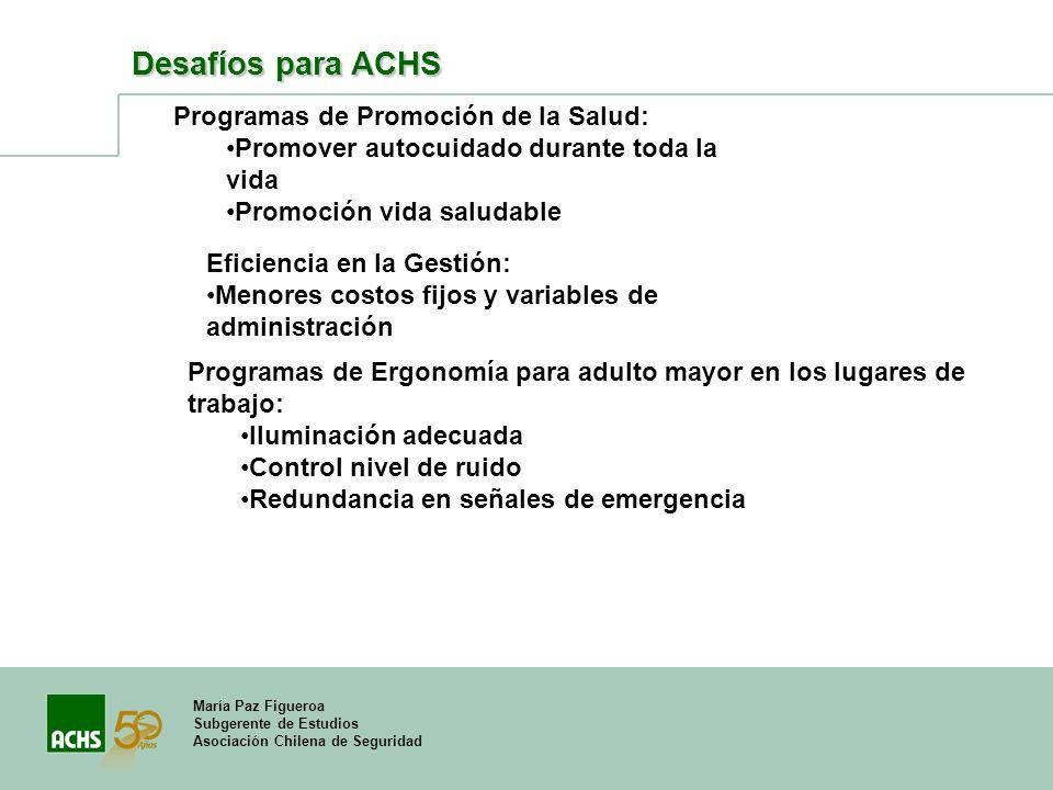 María Paz Figueroa Subgerente de Estudios Asociación Chilena de Seguridad Desafíos para ACHS Programas de Ergonomía para adulto mayor en los lugares d