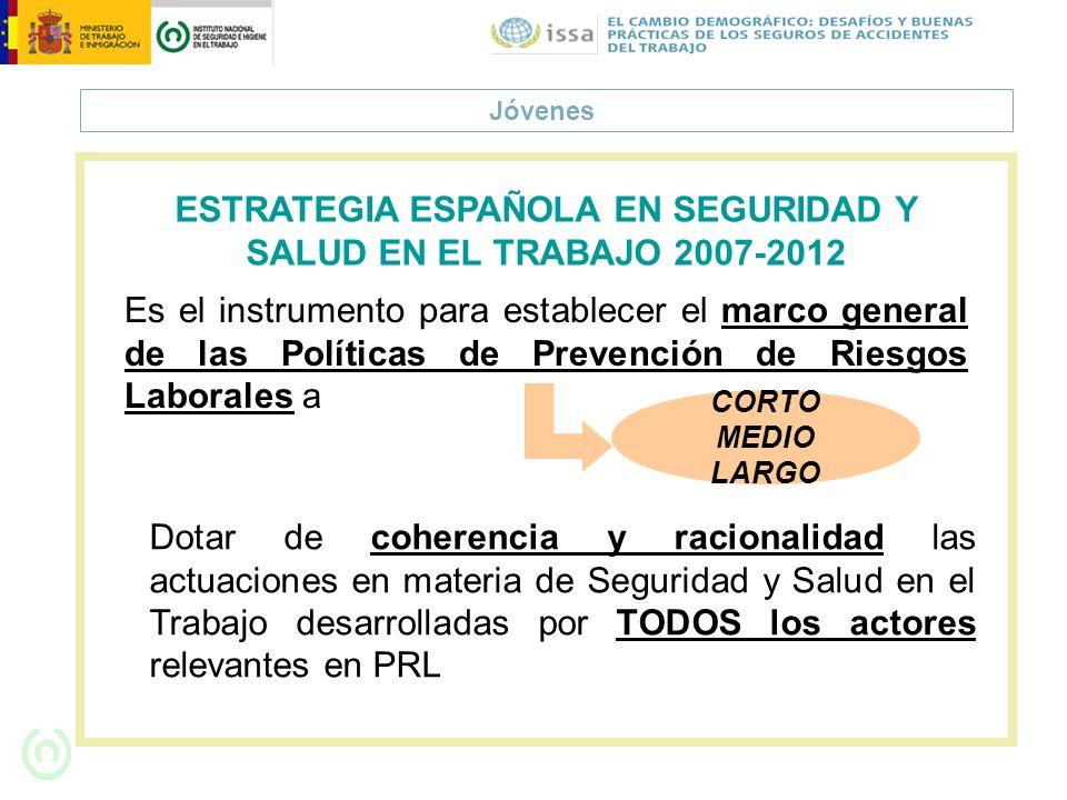 Jóvenes Es el instrumento para establecer el marco general de las Políticas de Prevención de Riesgos Laborales a ESTRATEGIA ESPAÑOLA EN SEGURIDAD Y SA