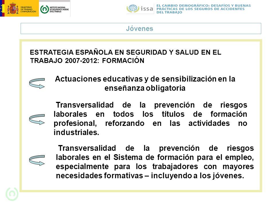 Jóvenes ESTRATEGIA ESPAÑOLA EN SEGURIDAD Y SALUD EN EL TRABAJO 2007-2012: FORMACIÓN Actuaciones educativas y de sensibilización en la enseñanza obliga