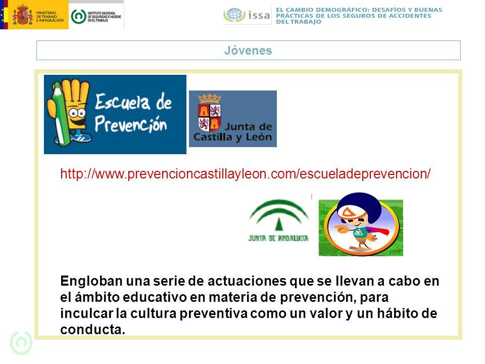 Jóvenes http://www.prevencioncastillayleon.com/escueladeprevencion/ Engloban una serie de actuaciones que se llevan a cabo en el ámbito educativo en m