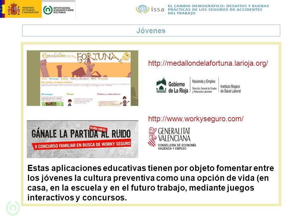 Jóvenes http://medallondelafortuna.larioja.org/ Estas aplicaciones educativas tienen por objeto fomentar entre los jóvenes la cultura preventiva como