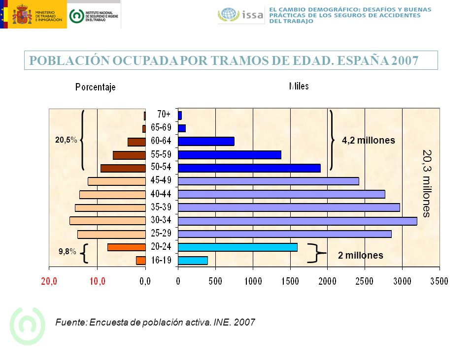 POBLACIÓN OCUPADA POR TRAMOS DE EDAD. ESPAÑA 2007 Fuente: Encuesta de población activa. INE. 2007 20,5% 9,8% 2 millones 4,2 millones 20,3 millones