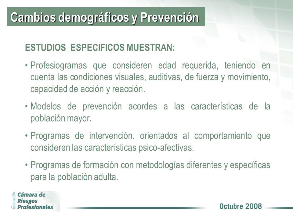 Cambios demográficos y Prevención ESTUDIOS ESPECIFICOS MUESTRAN: Profesiogramas que consideren edad requerida, teniendo en cuenta las condiciones visuales, auditivas, de fuerza y movimiento, capacidad de acción y reacción.