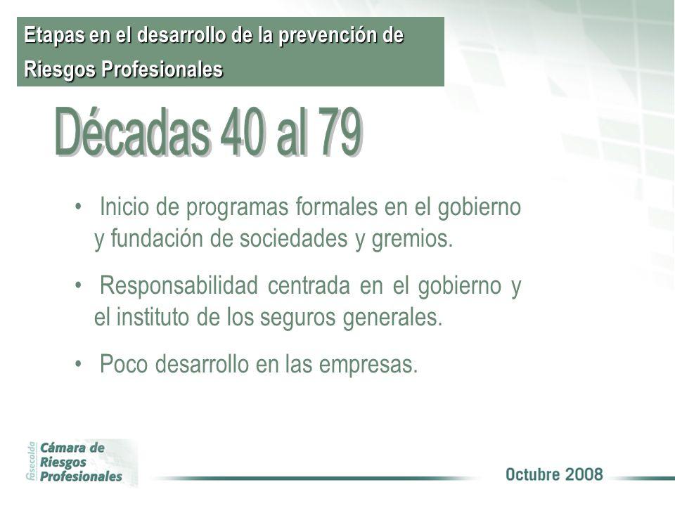 Etapas en el desarrollo de la prevención de Riesgos Profesionales Inicio de programas formales en el gobierno y fundación de sociedades y gremios.