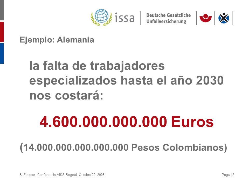 S. Zimmer, Conferencia AISS Bogotá, Octubre 29, 2008Page 12 Ejemplo: Alemania la falta de trabajadores especializados hasta el año 2030 nos costará: 4