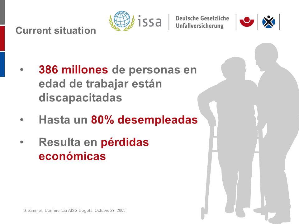 S. Zimmer, Conferencia AISS Bogotá, Octubre 29, 2008Page 19 Current situation 386 millones de personas en edad de trabajar están discapacitadas Hasta