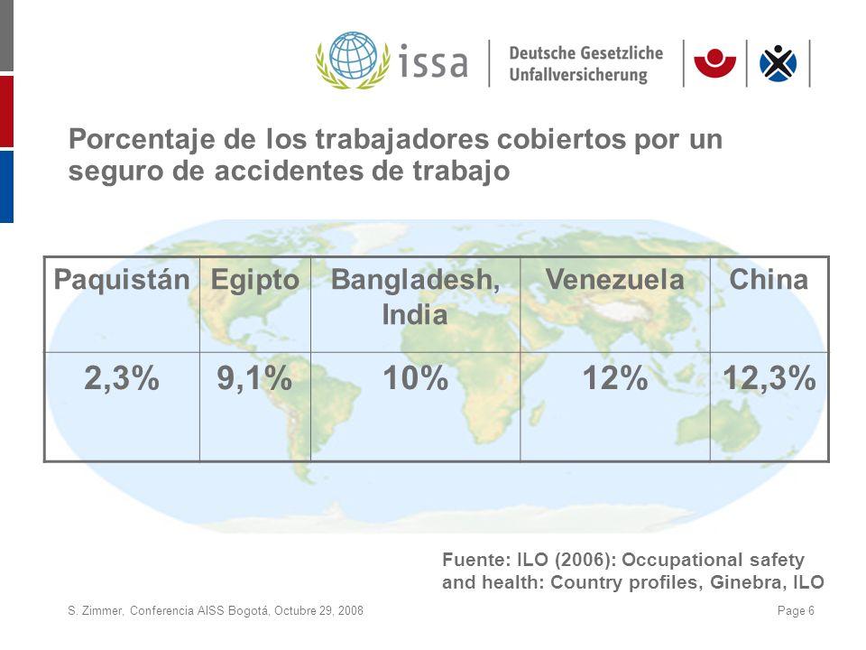 S. Zimmer, Conferencia AISS Bogotá, Octubre 29, 2008Page 6 Porcentaje de los trabajadores cobiertos por un seguro de accidentes de trabajo PaquistánEg