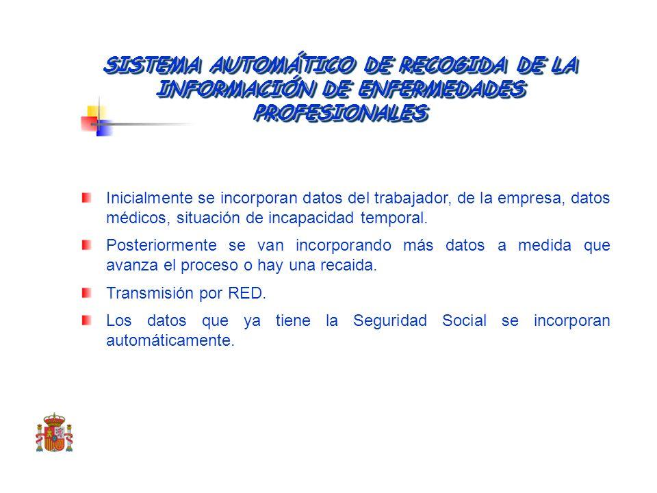 SISTEMA AUTOMÁTICO DE RECOGIDA DE LA INFORMACIÓN DE ENFERMEDADES PROFESIONALES. CEPROSS Inician: los servicios médicos Comunica: la entidad a la que c
