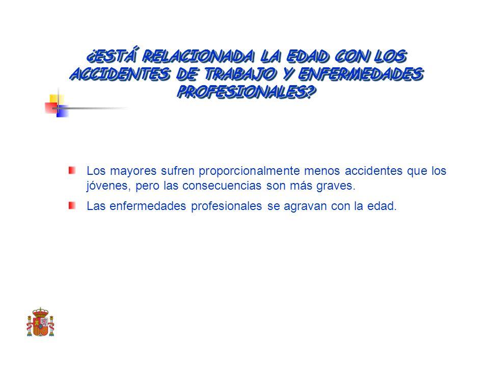 LA EXPERIENCIA ESPAÑOLA DE LOS ÚLTIMOS AÑOS La relación entre la edad y la siniestralidad por accidentes de trabajo y enfermedades profesionales Dos r