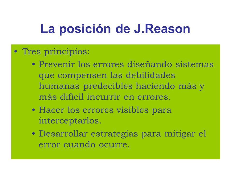 La posición de J.Reason Tres principios: Prevenir los errores diseñando sistemas que compensen las debilidades humanas predecibles haciendo más y más
