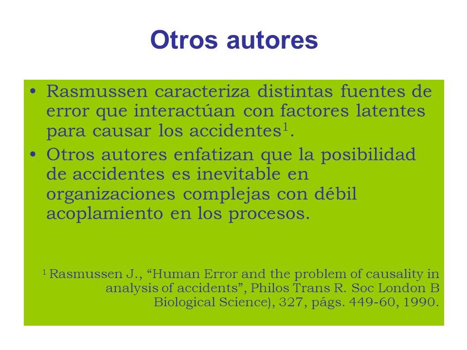 Otros autores Rasmussen caracteriza distintas fuentes de error que interactúan con factores latentes para causar los accidentes 1. Otros autores enfat