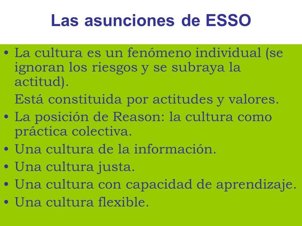 Las asunciones de ESSO La cultura es un fenómeno individual (se ignoran los riesgos y se subraya la actitud). Está constituida por actitudes y valores