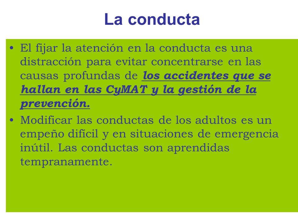 La conducta El fijar la atención en la conducta es una distracción para evitar concentrarse en las causas profundas de los accidentes que se hallan en