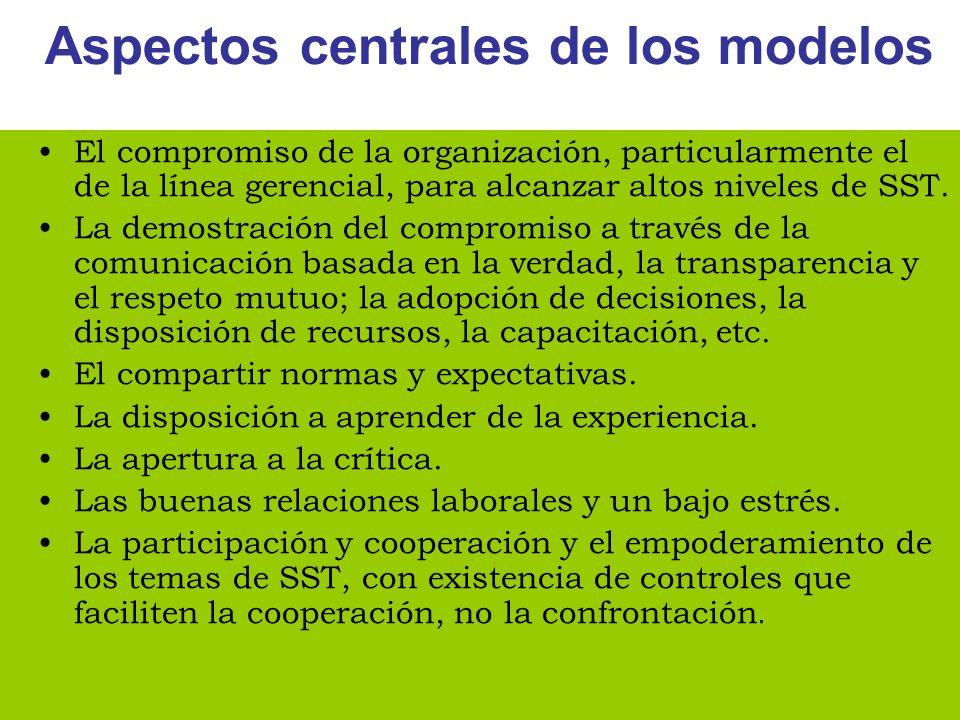 Aspectos centrales de los modelos El compromiso de la organización, particularmente el de la línea gerencial, para alcanzar altos niveles de SST. La d