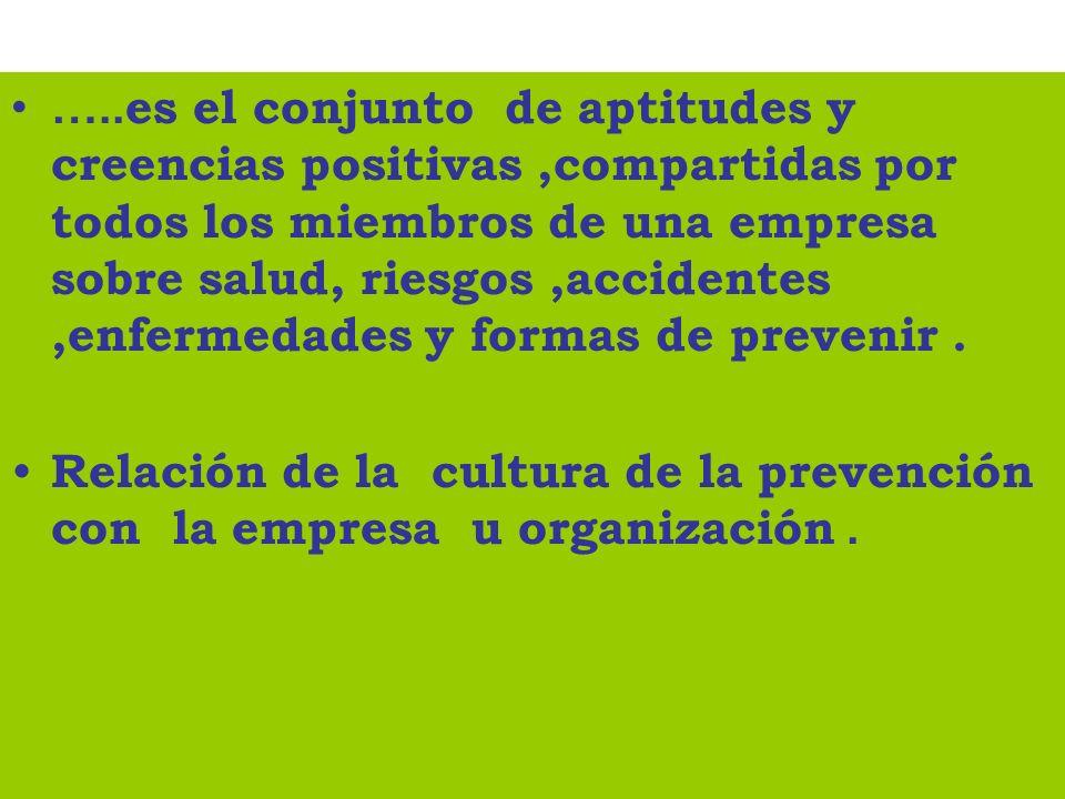 ….. es el conjunto de aptitudes y creencias positivas,compartidas por todos los miembros de una empresa sobre salud, riesgos,accidentes,enfermedades y