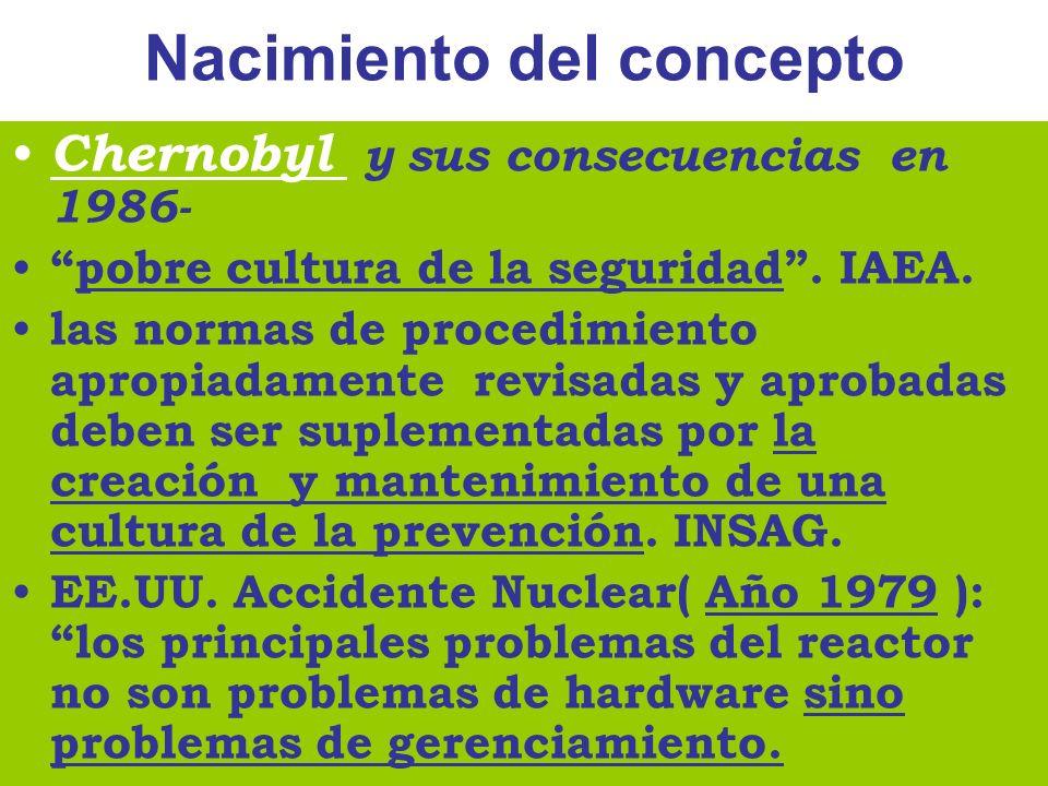 Una definición :- ACSNI, 1993 (Advisory Comitee on the Safety Nuclear Installations ) La Cultura de Seguridad de una organización es el producto de los valores, actitudes, competencias y patrones de comportamiento, grupales e individuales, que determinan el compromiso y el estilo y la competencia de los programas de salud y seguridad.