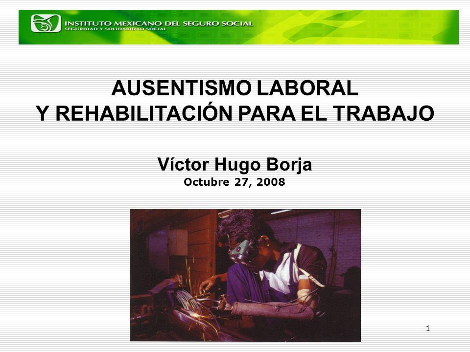 1 AUSENTISMO LABORAL Y REHABILITACIÓN PARA EL TRABAJO Víctor Hugo Borja Octubre 27, 2008