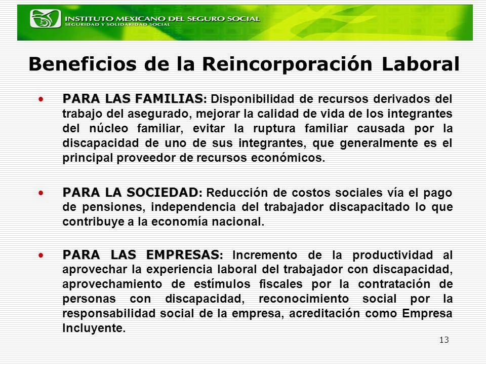 13 Beneficios de la Reincorporación Laboral PARA LAS FAMILIASPARA LAS FAMILIAS : Disponibilidad de recursos derivados del trabajo del asegurado, mejor