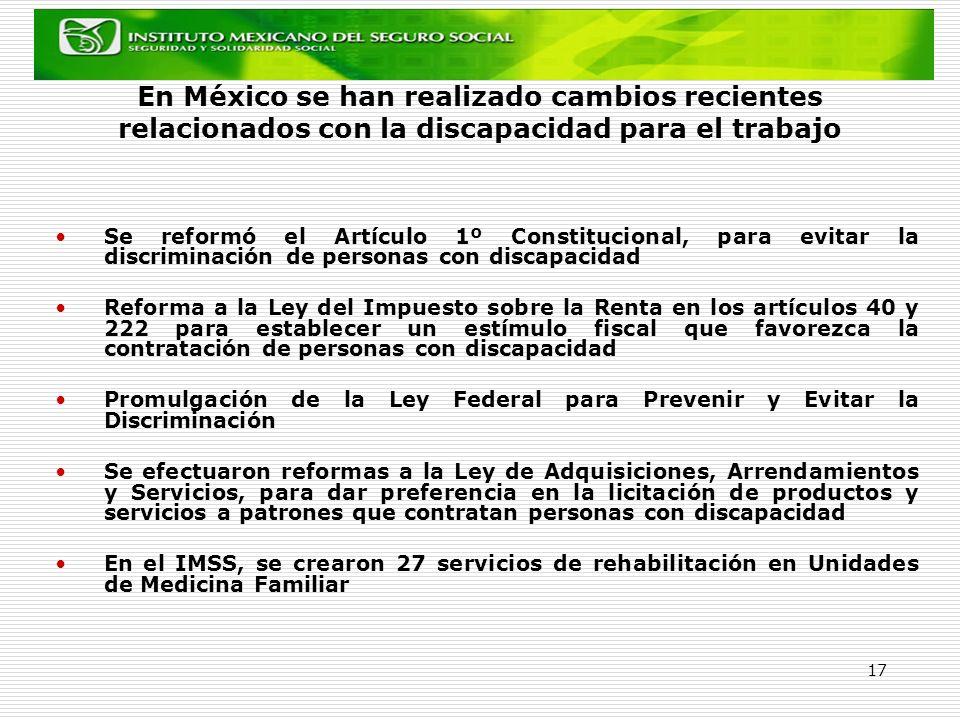 17 En México se han realizado cambios recientes relacionados con la discapacidad para el trabajo Se reformó el Artículo 1º Constitucional, para evitar