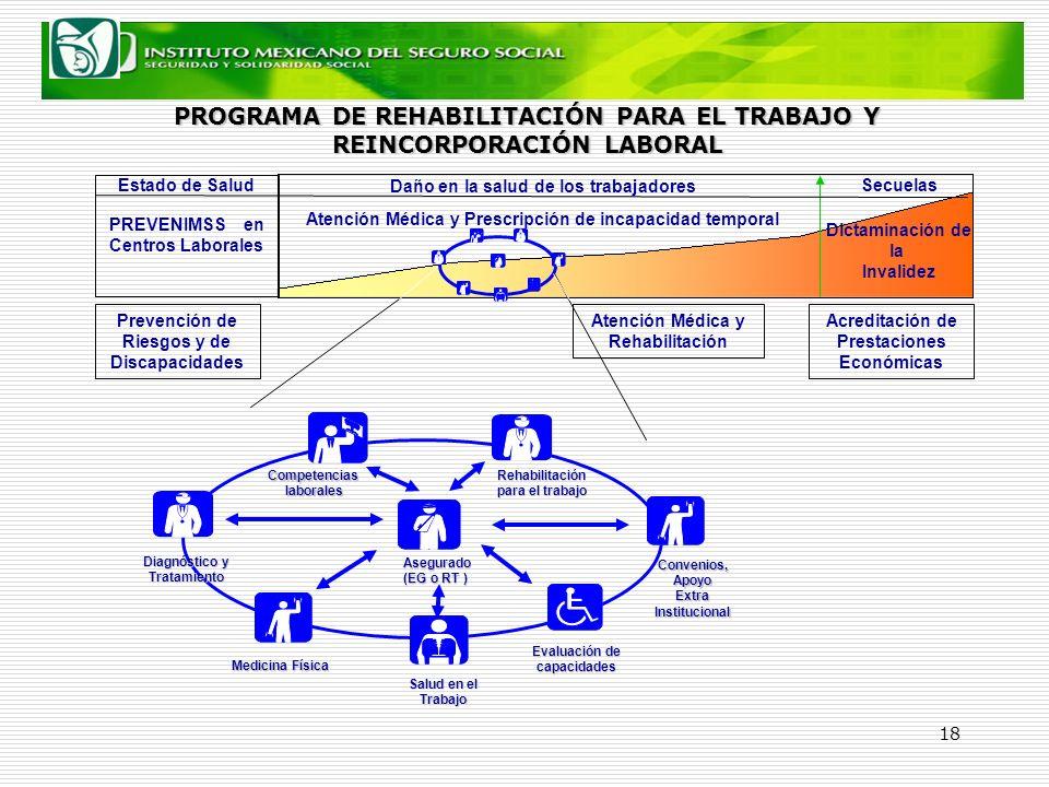 18 Atención Médica y Prescripción de incapacidad temporal Dictaminación de la Invalidez Competencias laborales laborales Rehabilitación para el trabaj