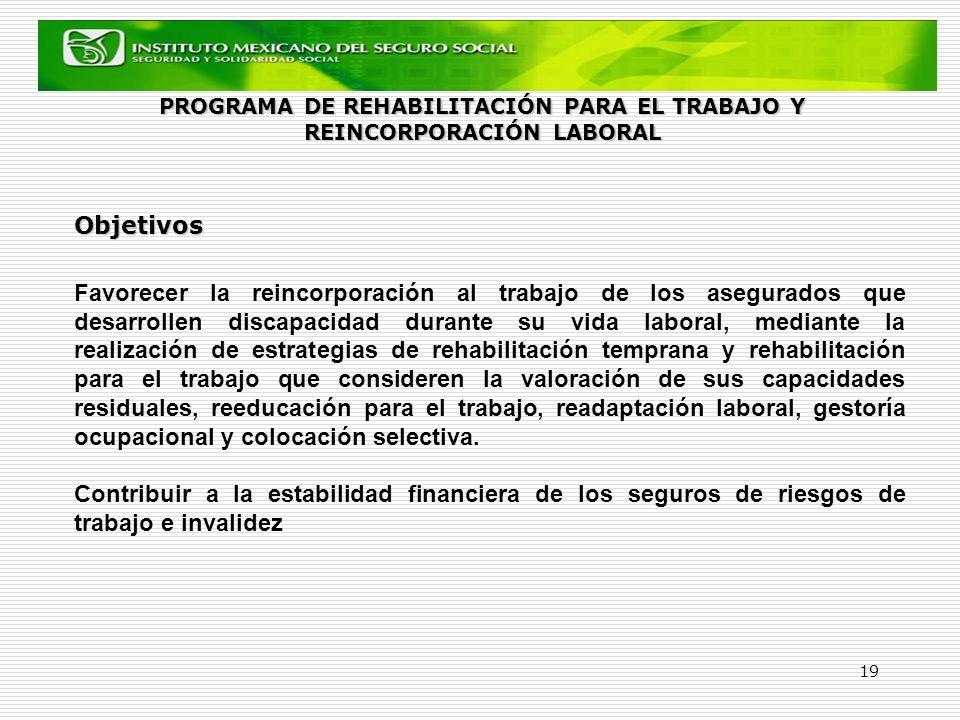 19 Objetivos Favorecer la reincorporación al trabajo de los asegurados que desarrollen discapacidad durante su vida laboral, mediante la realización d