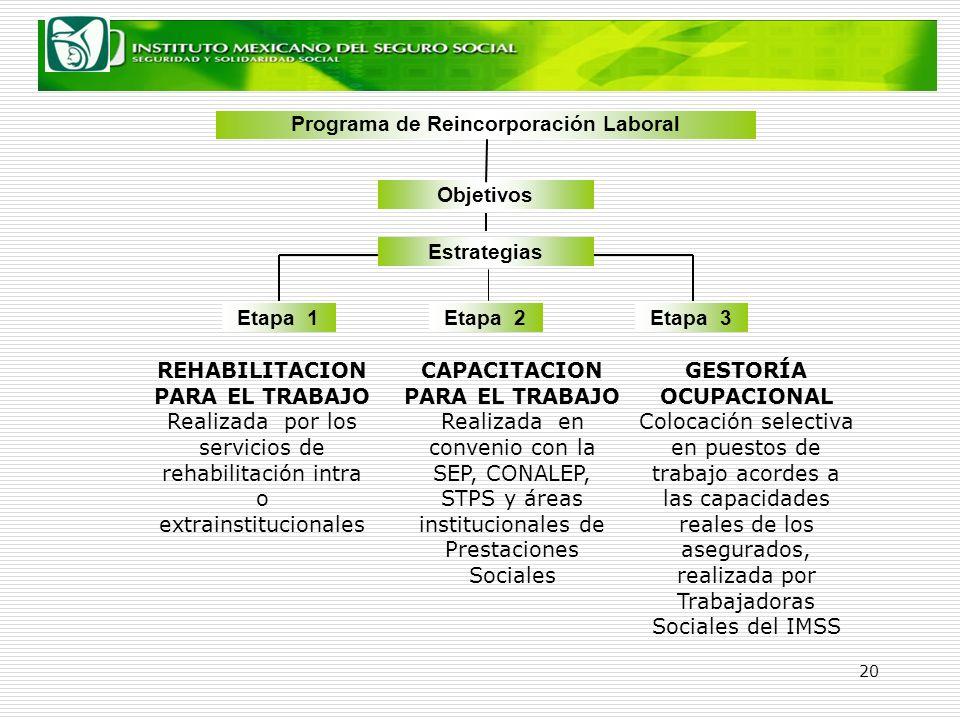 20 Estrategias Objetivos Programa de Reincorporación Laboral Etapa 1Etapa 2Etapa 3 REHABILITACION PARA EL TRABAJO Realizada por los servicios de rehab