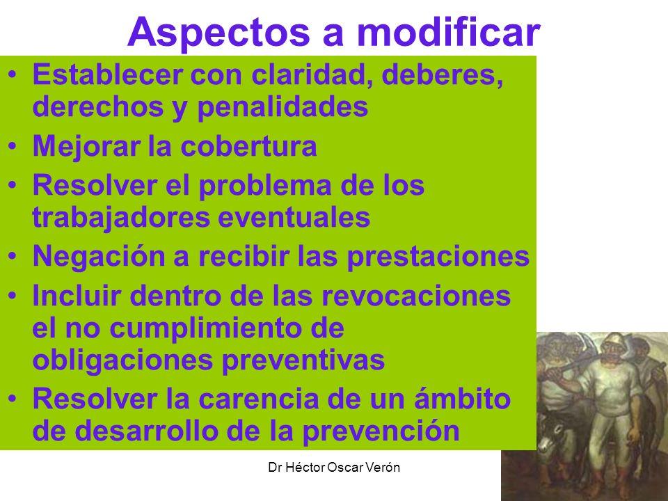 Dr Héctor Oscar Verón Aspectos a modificar Establecer con claridad, deberes, derechos y penalidades Mejorar la cobertura Resolver el problema de los t