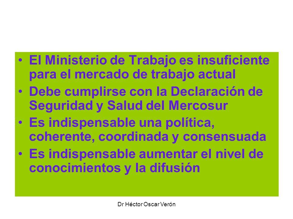 Dr Héctor Oscar Verón Adopción de un Sistema de Salud y Seguridad El Ministerio de Trabajo es insuficiente para el mercado de trabajo actual Debe cump