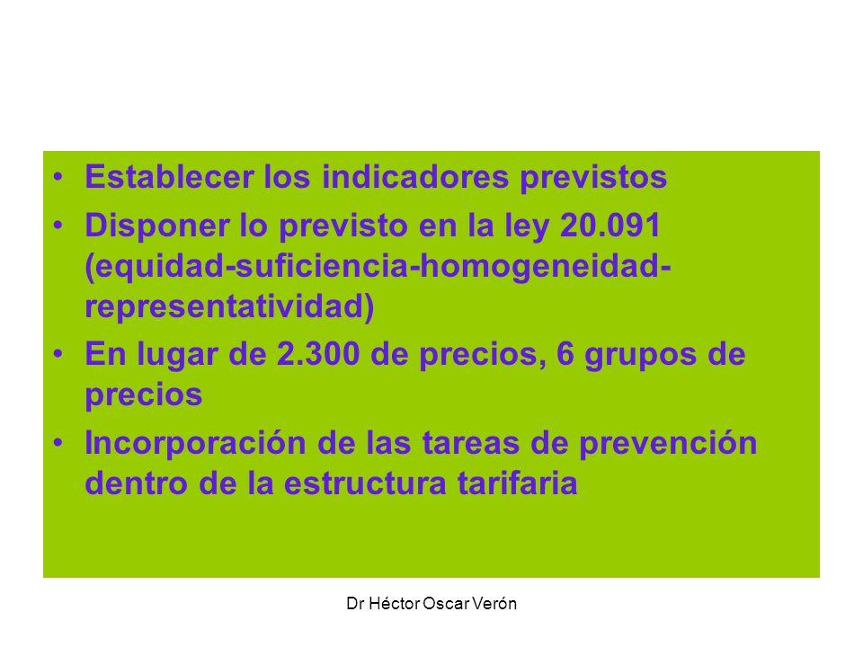 Dr Héctor Oscar Verón Algunas características Establecer los indicadores previstos Disponer lo previsto en la ley 20.091 (equidad-suficiencia-homogene
