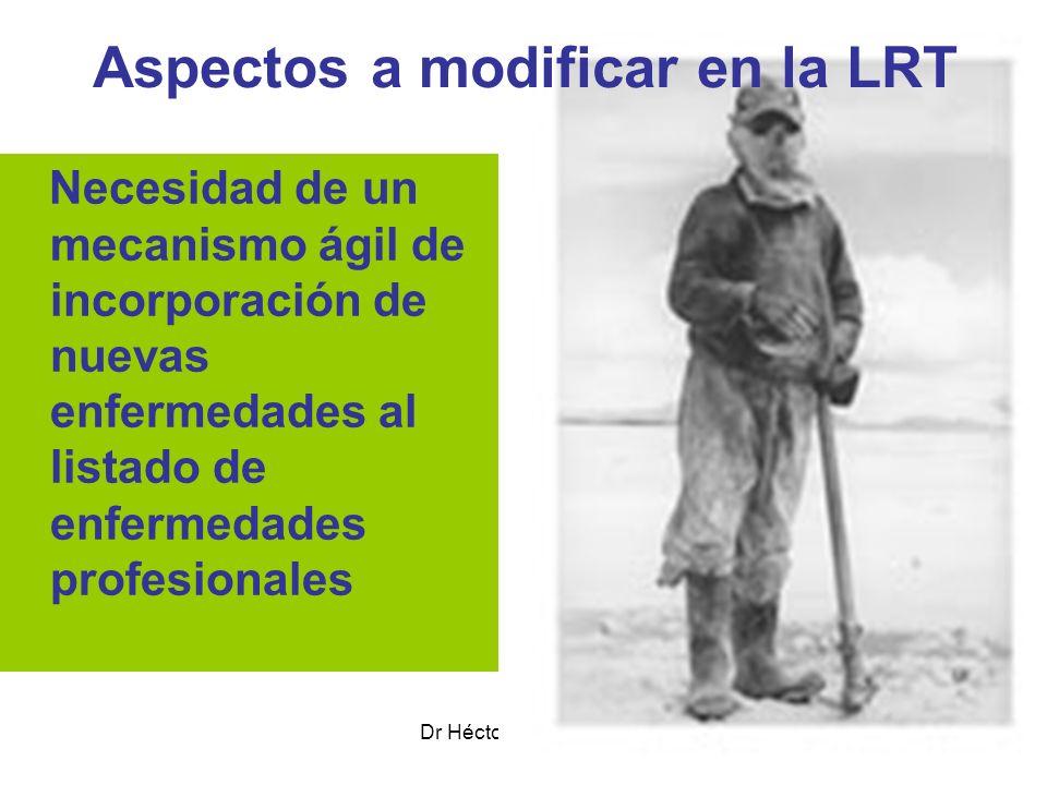 Dr Héctor Oscar Verón Aspectos a modificar en la LRT Necesidad de un mecanismo ágil de incorporación de nuevas enfermedades al listado de enfermedades