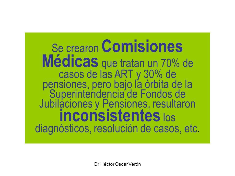 Dr Héctor Oscar Verón Se crearon Comisiones Médicas que tratan un 70% de casos de las ART y 30% de pensiones, pero bajo la órbita de la Superintendenc