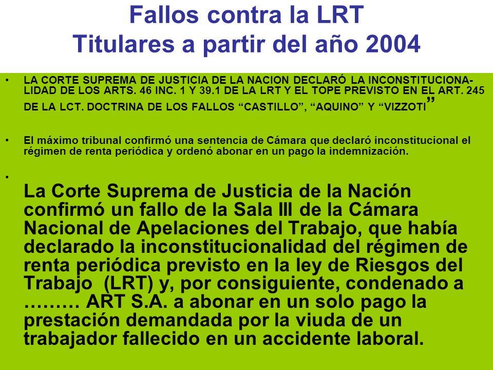 Dr Héctor Oscar Verón Fallos contra la LRT Titulares a partir del año 2004 LA CORTE SUPREMA DE JUSTICIA DE LA NACION DECLARÓ LA INCONSTITUCIONA- LIDAD