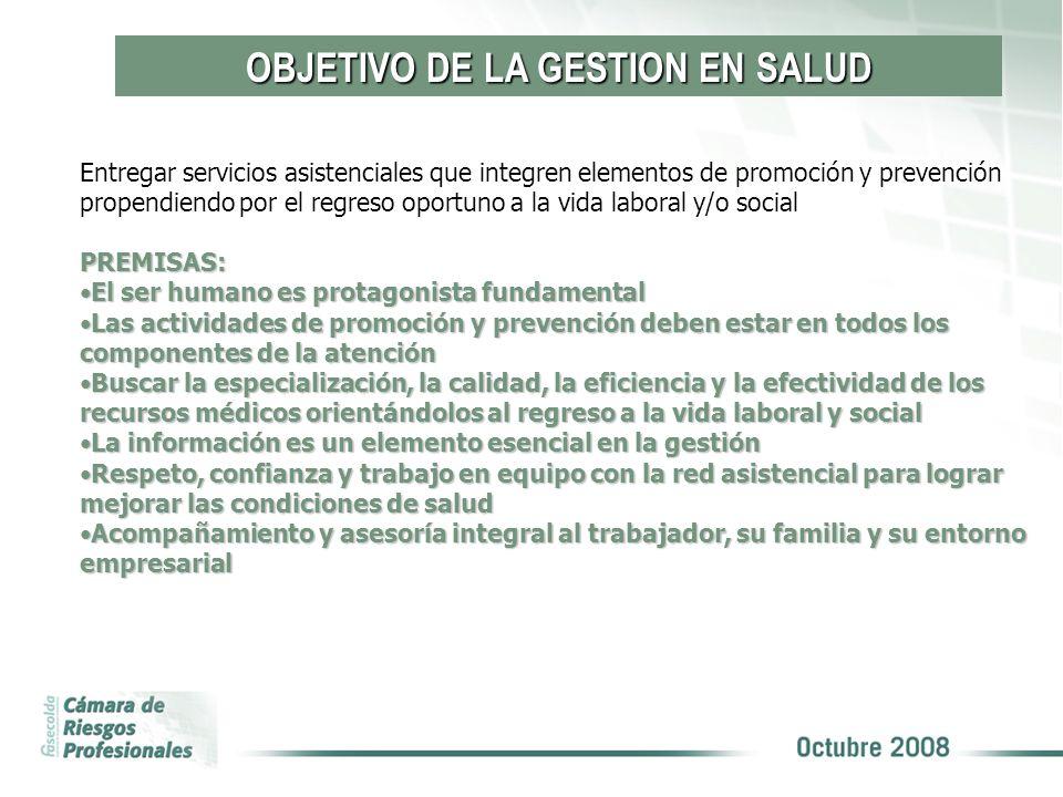 OBJETIVO DE LA GESTION EN SALUD Entregar servicios asistenciales que integren elementos de promoción y prevención propendiendo por el regreso oportuno