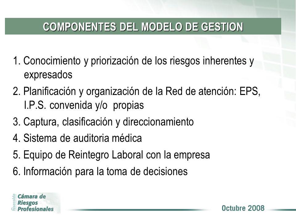 COMPONENTES DEL MODELO DE GESTION 1. Conocimiento y priorización de los riesgos inherentes y expresados 2. Planificación y organización de la Red de a